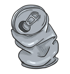 cartoon crumpled beer can vector image