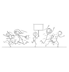 Cartoon drawing of crowd of people running in vector