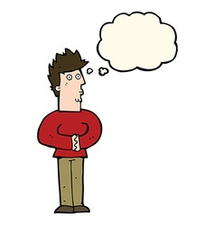 Cartoon nervous man with thought bubble vector