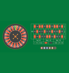 Casino roulette wheel with chips on green table vector