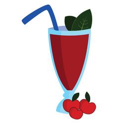 cherry juice on white background vector image