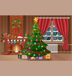 Christmas interior of room vector