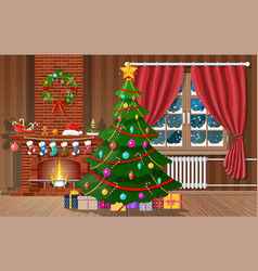 christmas interior room vector image