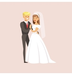 Classy Newlyweds Posing For Photo At The Wedding vector image