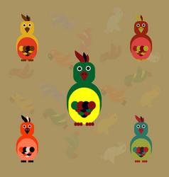 Cockatoo set parrots collection vector