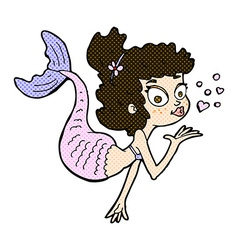 comic cartoon pretty mermaid vector image