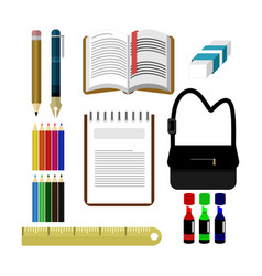 common back to school student stuff design set vector image