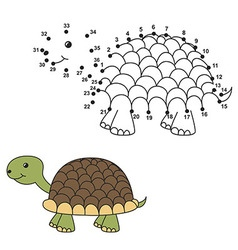 Connect the dots to draw the cute turtle and color vector image