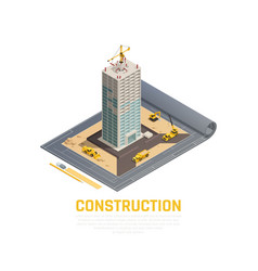 construction isometric banner vector image
