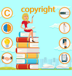 copyright brain light bulb hand signed contract vector image