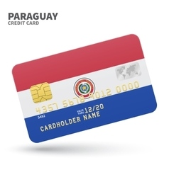 Credit card with paraguay flag background for bank vector