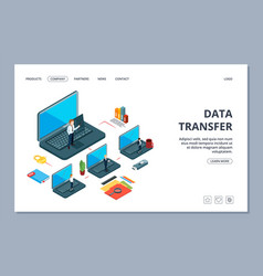 Data transfer landing page isometric information vector