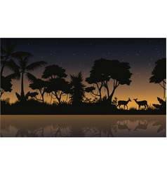 Deer scene on the jungle silhouettes vector