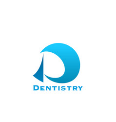 dentistry or dental clinic letter d icon vector image