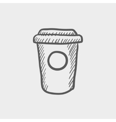 Disposable coffee cup sketch icon vector image