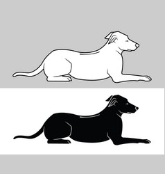 dogs black silhouette and outline vector image