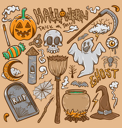 Doodle halloween icon sets stock coloring vector