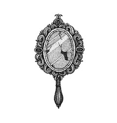 Dotwork ancient handle mirror vector