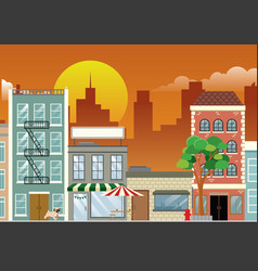 Downtown shopping street in dusk vector