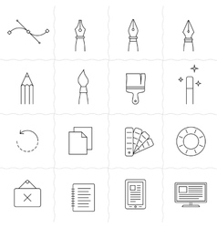 Drawing and painting tools icons 2 vector