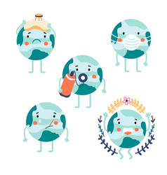 Earth planet character set collection vector