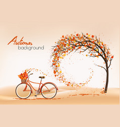 enjoy autumn background tree with colorful leaves vector image