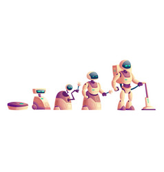 evolution of robots vacuum cleaner concept vector image