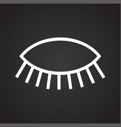 Eye icon on black background for graphic and web vector