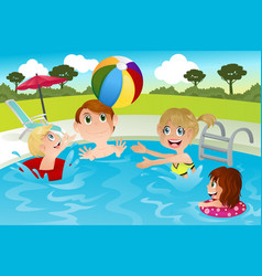 Family in swimming pool vector