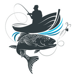 fish catch and fisherman in a boat vector image