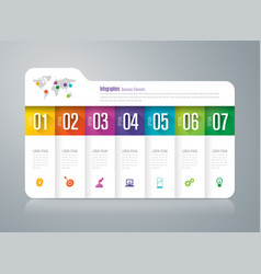 Folder infographics design with 7 options vector