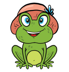 Frog with a hat on white background vector