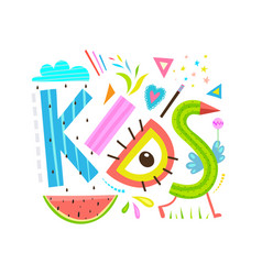 funny abstract kids lettering sign inscription vector image