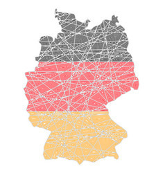 germany stylized map shaped on tangled textured vector image