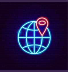 Global neon sign vector