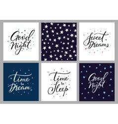 Good night lettering postcard set vector