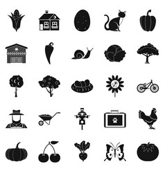 granary icons set simple style vector image