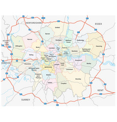 greater london road and administrative map vector image