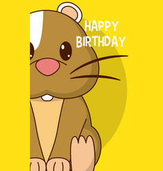 Hamster cute birthday card vector