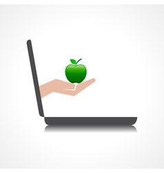 hand holding apple comes from laptop screen stock vector image