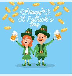 happy st patrick man and woman with beer glass vector image