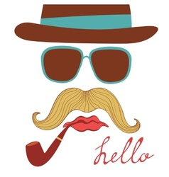 Hello card with colorful mustache party elements vector