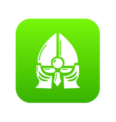 historical knight helmet icon green vector image