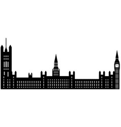Image of cartoon houses of parliament and big ben vector