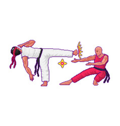 Japanese karate fight or battle in game vector