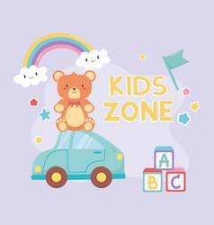 kids zone teddy bear sitting on blue car toys vector image