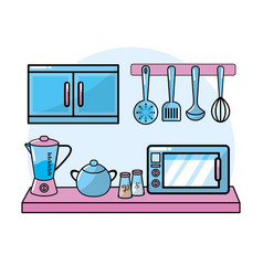 Kitchen utensils elements culinary collection vector