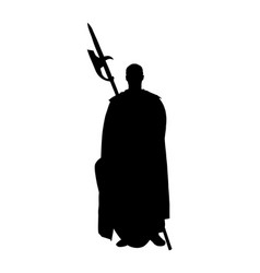 knight in armor with spear and shield silhouette vector image