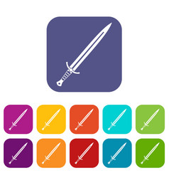 Long sword icons set flat vector