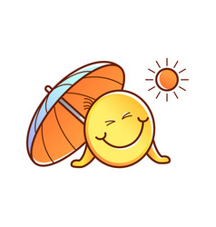 Male smiley face emoticon sun umbrella vector